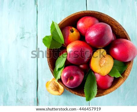 ripe nectarines - stock photo