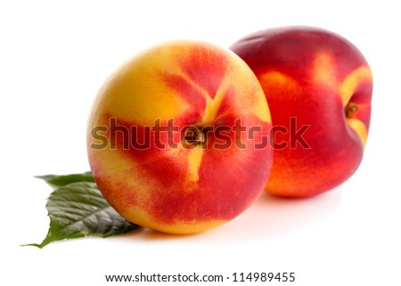 ripe nectarines, isolated on white - stock photo