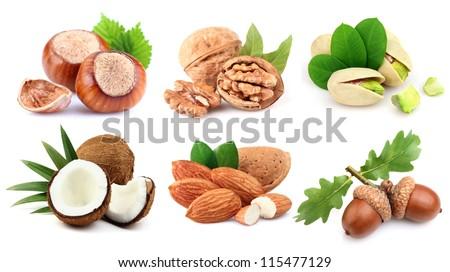Ripe nuts in closeup - stock photo