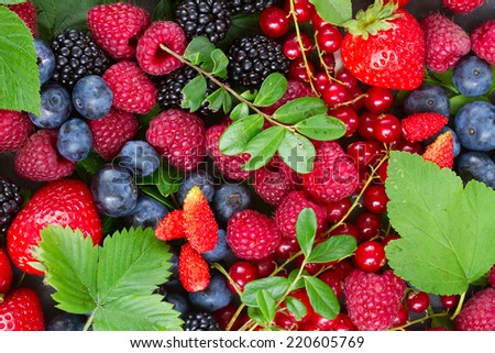 ripe  of fresh  berries with green  leaves background - stock photo