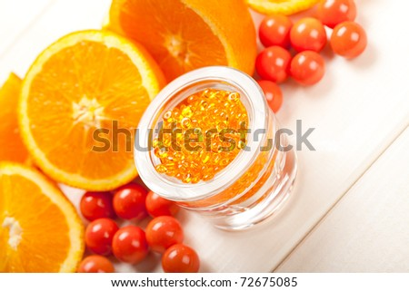 Ripe orange and bath salt for Spa - stock photo