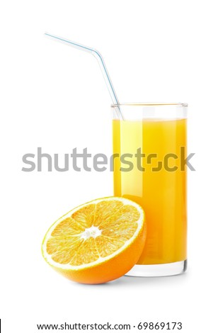 Ripe orange and freshess juice on white