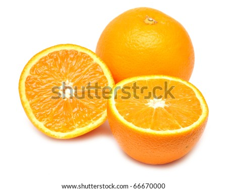 Ripe orange and its half Isolated on a white. - stock photo