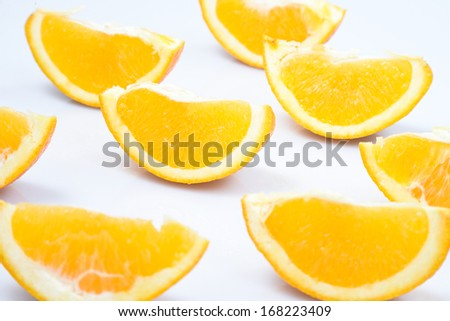 ripe orange cut in slices on a white background