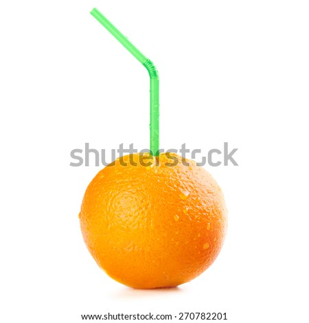 Ripe orange fruit with drops of water on the skin and cocktail straw - stock photo