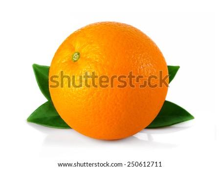 Ripe orange fruit with leaves isolated on white background - stock photo