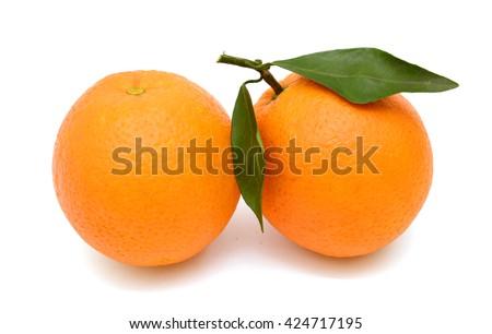 Ripe orange fruits isolated on white background - stock photo