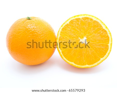 Ripe orange fruits isolated on white background - stock photo