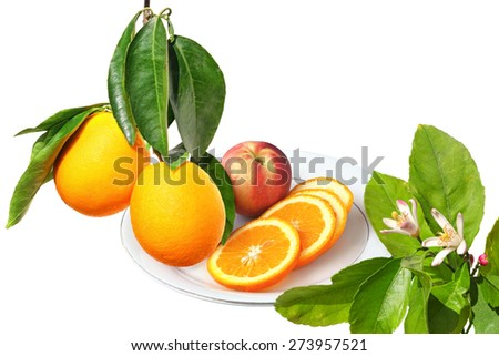 Ripe orange fruits on a branch, citrus flowers on the tree and orange fruit sliced on a the plate ready for eating . Isolated on white background - stock photo