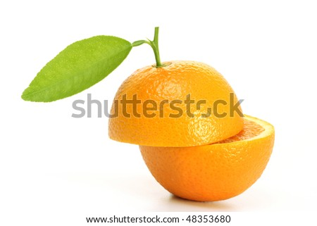 Ripe orange halves on white