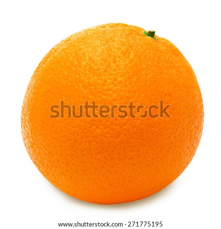 Ripe orange isolated on a white background - stock photo
