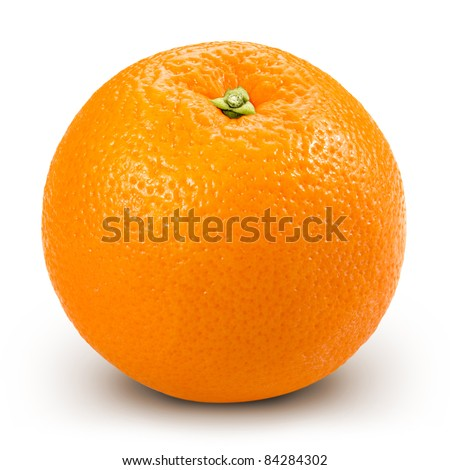 Ripe orange isolated on white background + Clipping Path - stock photo