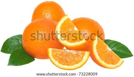 Ripe orange on a white background - stock photo