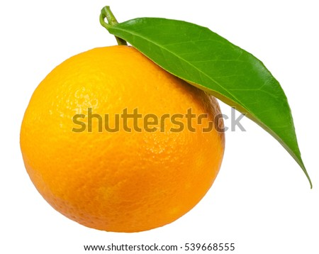 Ripe orange with a leaf isolated on white background