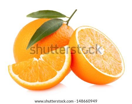ripe oranges isolated on white background - stock photo