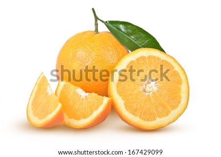 ripe oranges with a green leaf on a white background - stock photo