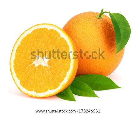 Ripe oranges with leaves isolated on the white background. - stock photo