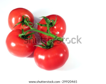 Ripe organic shiny red tomatoes on a bright background. - stock photo