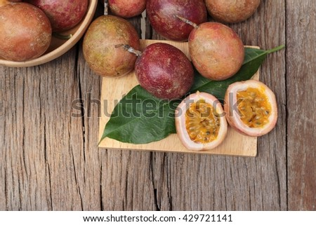 Ripe passion fruit is delicious  - stock photo