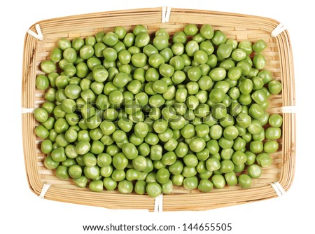 Ripe pea vegetable on white background