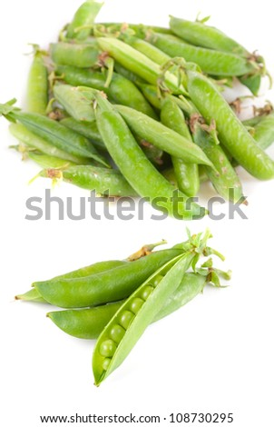 Ripe pea vegetable with green leaf isolated on white background