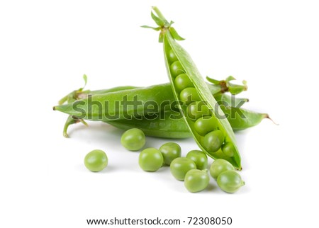 Ripe pea vegetable with green leaf isolated on white background - stock photo