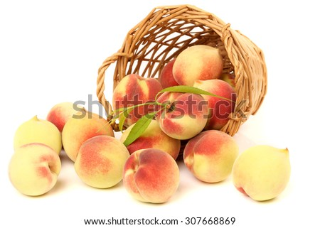 Ripe peach fruit isolated on white background  - stock photo