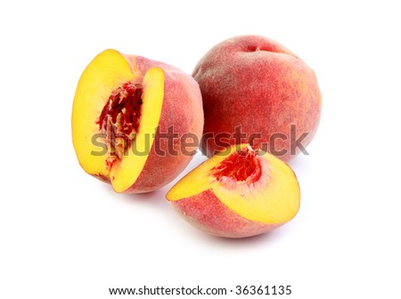 ripe peach fruit on white background