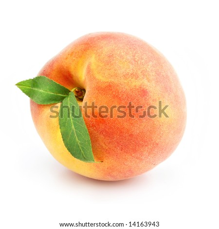 ripe peach fruit with green leafs isolated on white background - stock photo