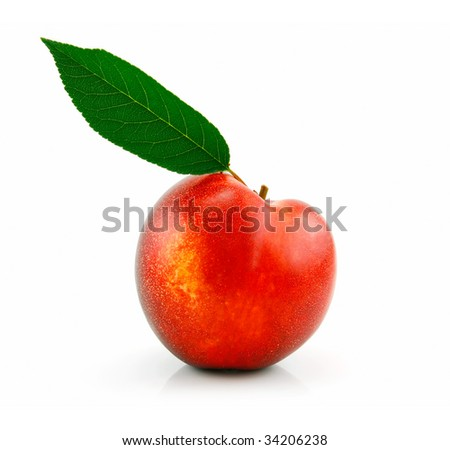 Ripe Peach (Nectarine) with Green Leafs Isolated on White Background