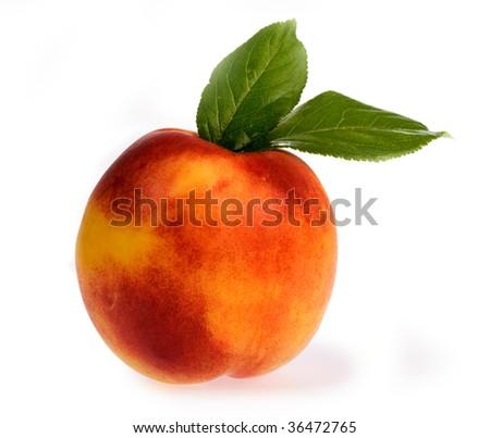ripe peach on a white background. - stock photo