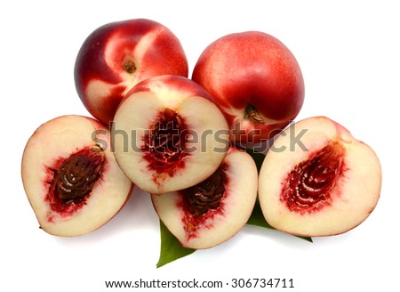 ripe peach on white background