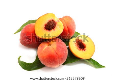 ripe peach with leaf isolated on white background - stock photo