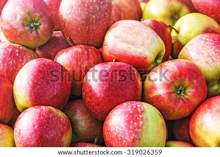 ripe peaches for sale at vegetable market - stock photo