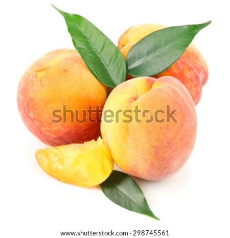 Ripe peaches isolated on white - stock photo