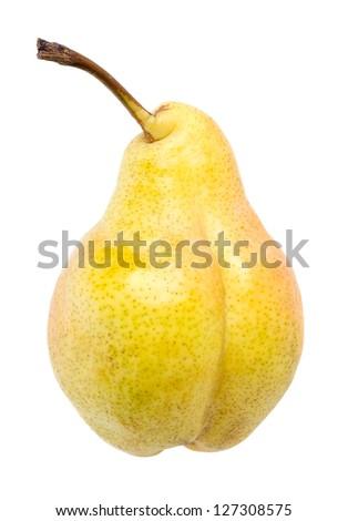 Ripe pear on white background - stock photo