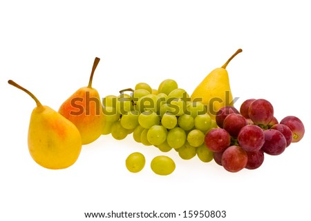 ripe pears and grape of the miscellaneous sort on white background
