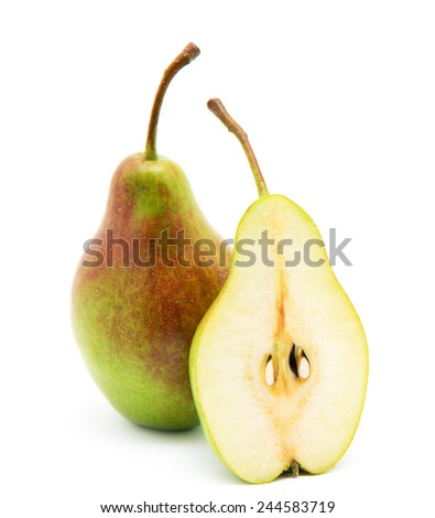 ripe pears and half