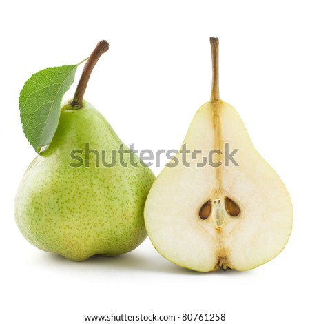 ripe pears and half isolated on white background