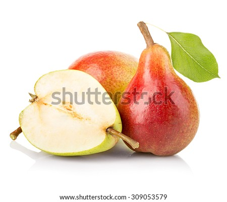 Ripe pears close-up isolated on a white background - stock photo