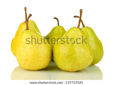 Ripe pears isolated on white - stock photo