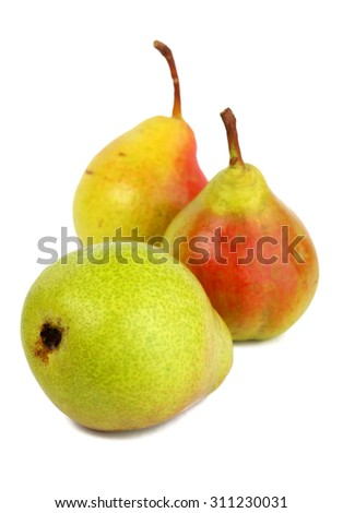 Ripe pears isolated on white