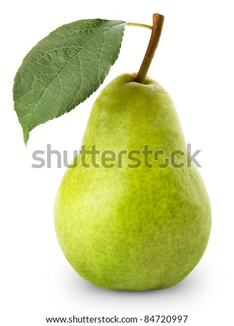ripe pears isolated on white background - stock photo