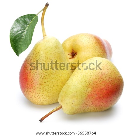 Ripe pears.Objects are isolated on a white background. - stock photo