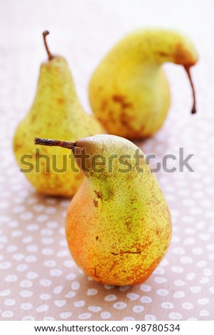 ripe pears on a table