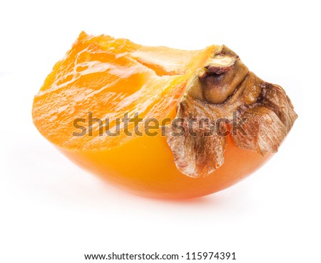 Ripe persimmon cut isolated on white background (with clipping paths)