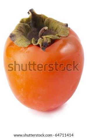 Ripe persimmon isolated over white background (macro shot) - stock photo