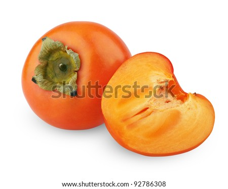 Ripe persimmon with cut isolated on white background - stock photo