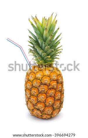 Ripe pineapple and straw isolated on white background