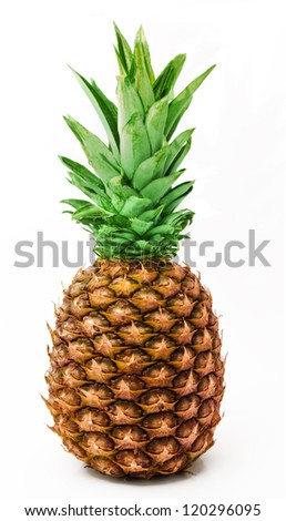 Ripe pineapple isolated on a white  background